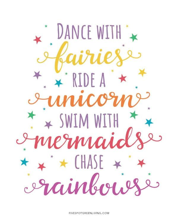Fun Printable Unicorn Quotes - Five Spot Green Living