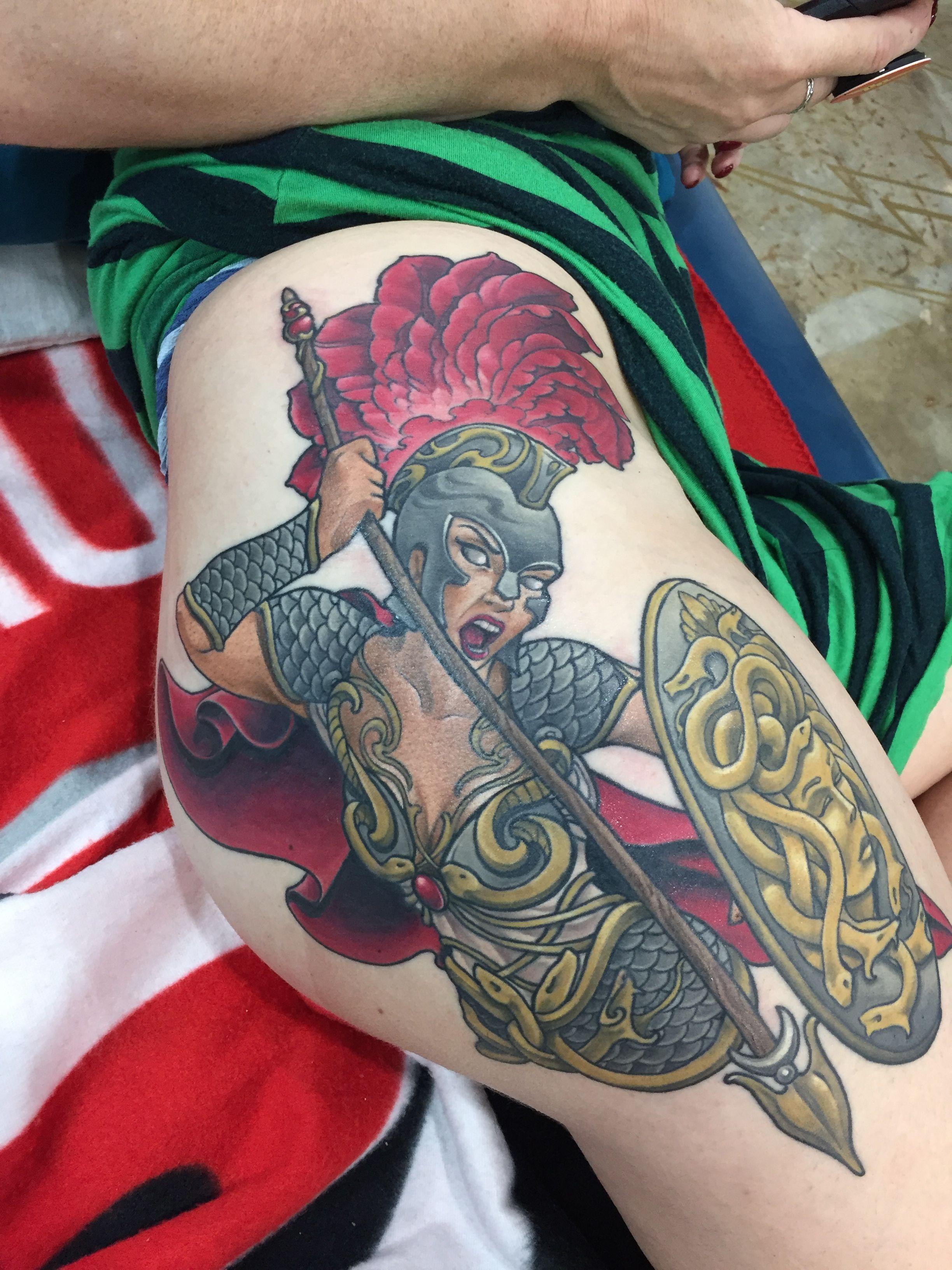 Athena Tattoo by Candice Tekus at Triple Moon Tattoo Raleigh, NC ...