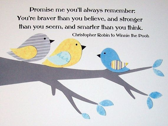 Promise Me You'll Always Remember in Gray, Yellow and Blue-Kids Wall Art Nursery Art Boyss Room Children's Art by vtdesigns, $14.00