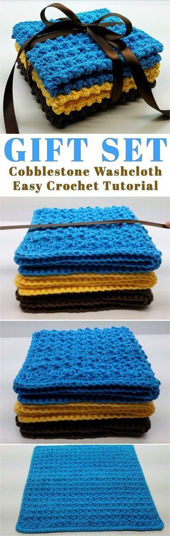Cobblestone Washcloth Gift Set Crochet Tutorial   Tejido, Ganchillo ...