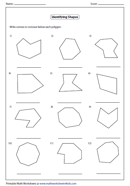 Convex and Concave Shape Worksheets | Identify Concave or Convex ...