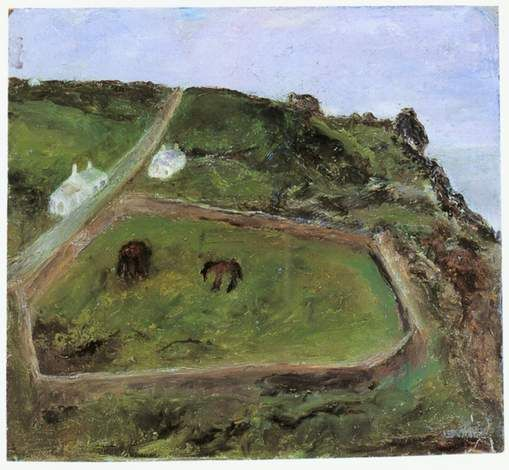 Sylvia Levine  Cornish Landscape with Donkeys, 1987  oil on board  British