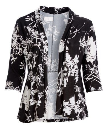 Another great find on #zulily! Black & White Floral Three-Quarter Sleeve Open Cardigan - Plus #zulilyfinds