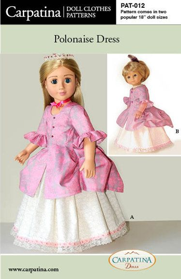 Polonaise Dress, Printed Doll Clothes Pattern in two 18\
