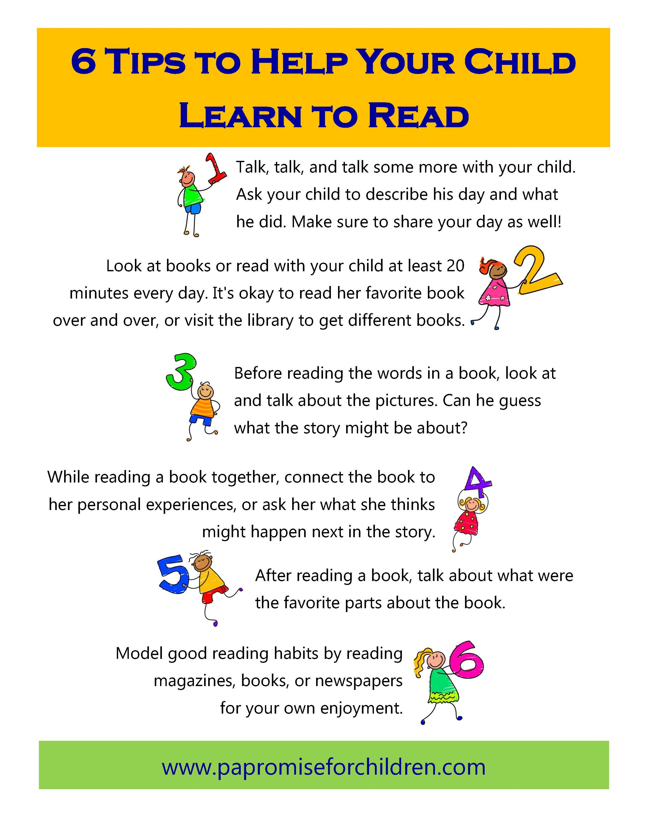 Six Tips To Help Your Child Learn To Read Www Papromiseforchildren Com Learn To Read Kids Learning Reading Skills How to help child learn to read