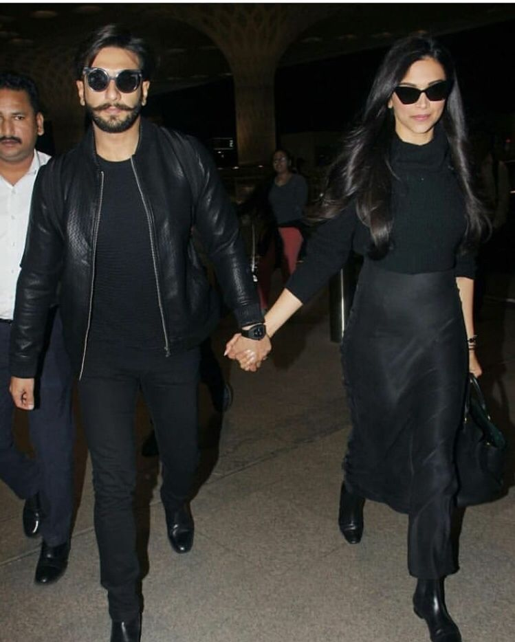 Deepika Padukone And Ranveer Singh Fly Off For Their Honeymoon From Mumbai Airport Hungryboo Deepika Padukone Style Bollywood Fashion Couple Outfits