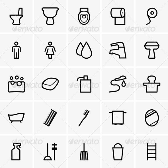 Bathroom Icons Graphicriver Set Of Bathroom Icons The Image Is A