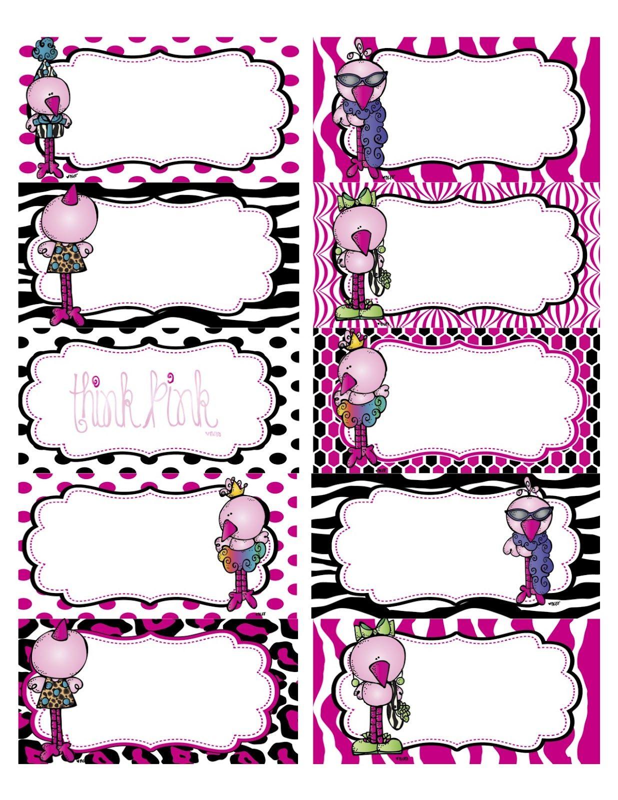Flamingo+Labels.jpg (1236×1600) | กรอบข้อความ | Pinterest