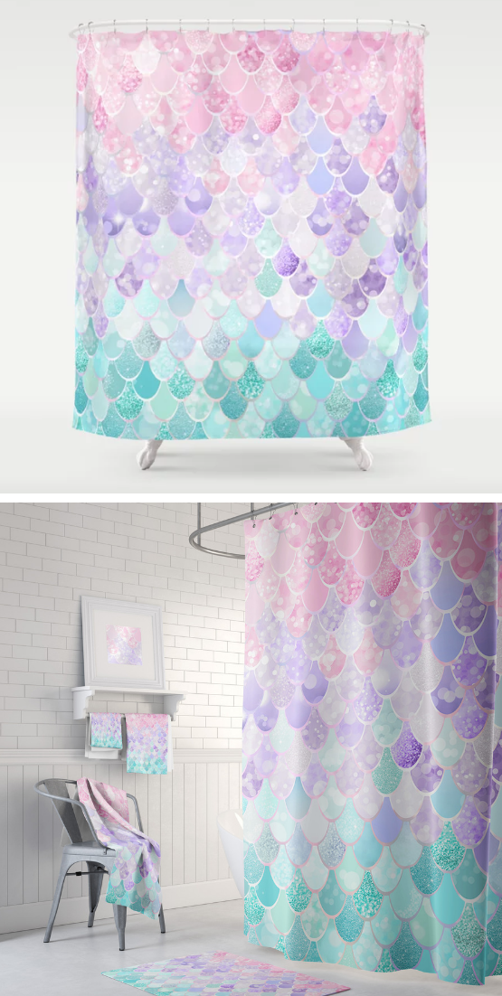 Cute Mermaid Pastel Iridescent Shower Curtain With Optional Matching Towels And Bath Mats Teal Shower Curtains Curtains Shower Curtain