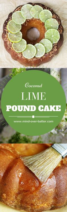 Tender pound cake with sweetened flaked coconut, zesty limes, brushed with a tart lime glaze. This cake is like ocean breeze and palm trees. http://www.mind-over-batter.com