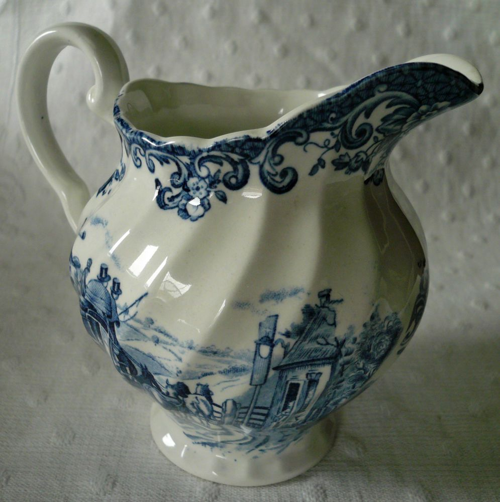 Vintage Blue Transferware Carriage Horses Cream Pitcher