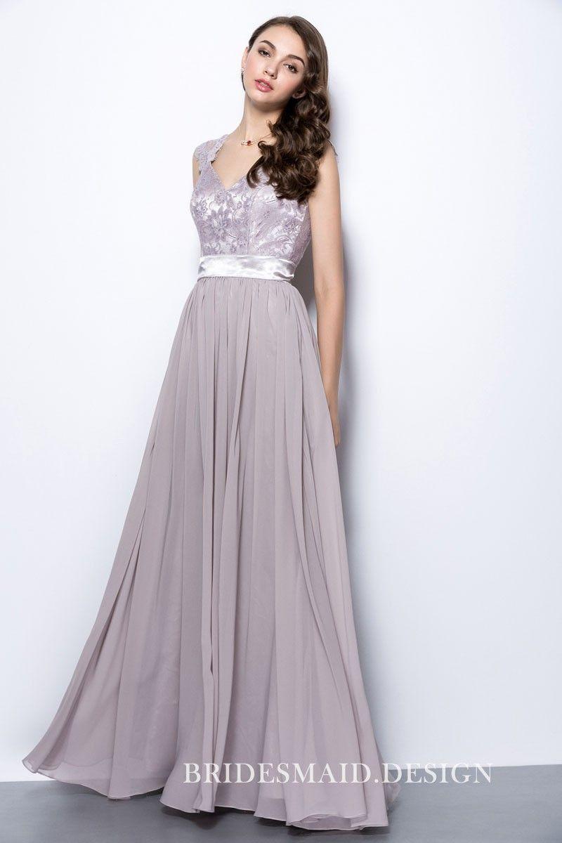 Vintage Lace Cap Sleeve A-line Long Chiffon Bridesmaid Dress  228048497