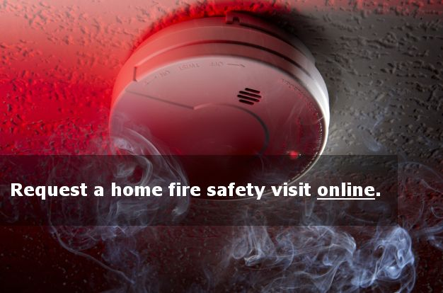 photo of smoke alarm and link to request free home safety evaluation