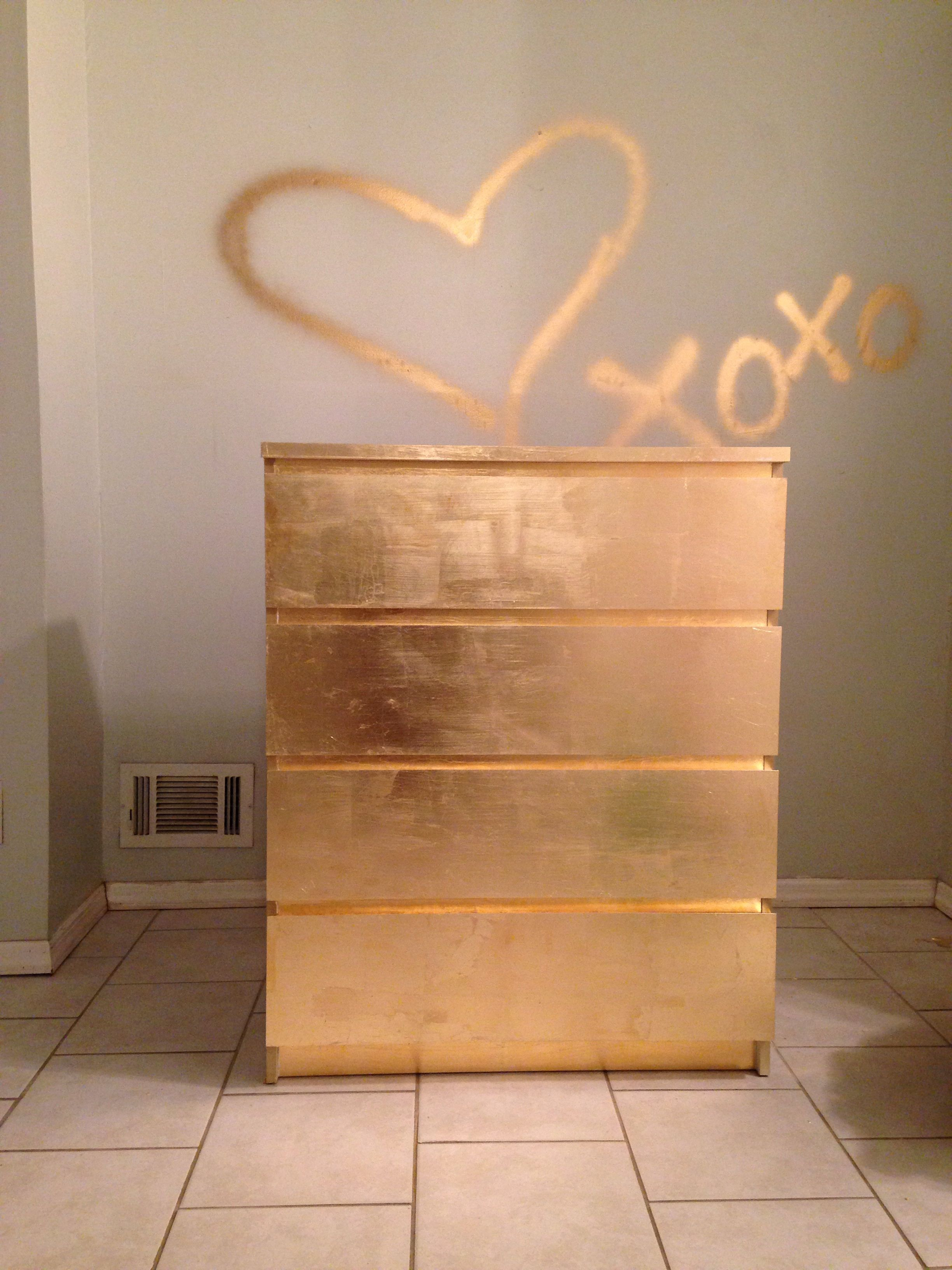 Gold dresser used a malm ikea dresser size gold leaf and for Ikea schreibtisch malm weiay