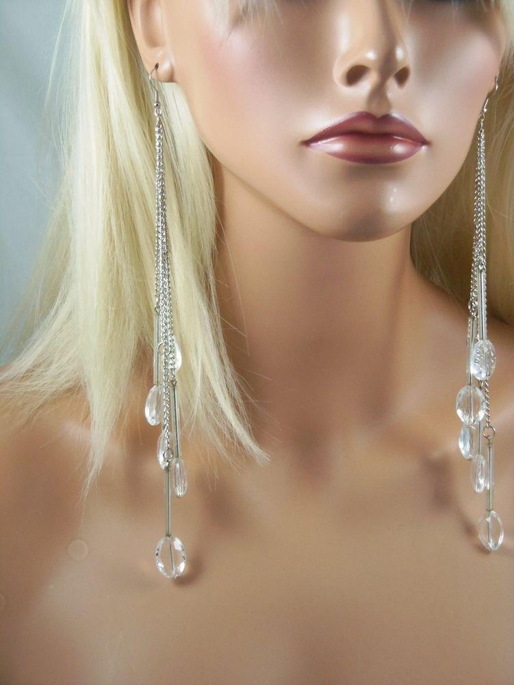 LONG CHAIN FRINGE FACETED CLEAR BEADS SHOULDER DROP DANGLE EARRINGS #FashionJewelry #DropDangle