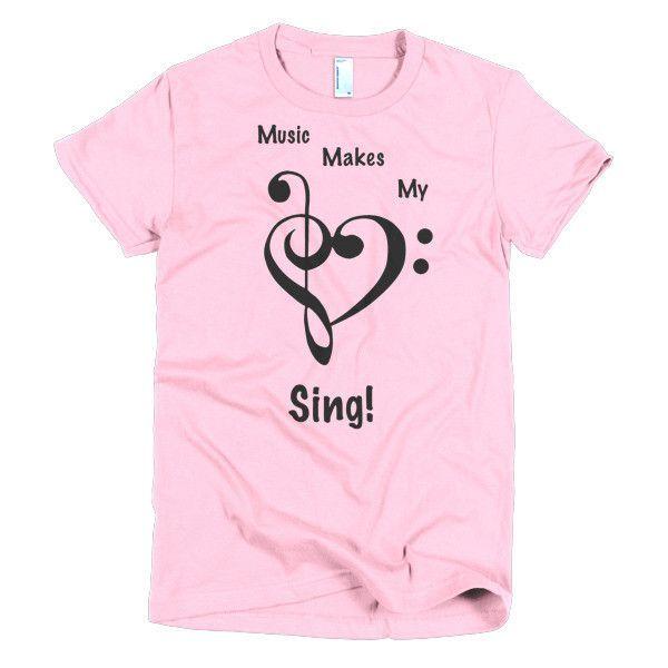c4919ee47d Music Makes My Heart Sing Short sleeve women's t-shirt | Music Decor ...