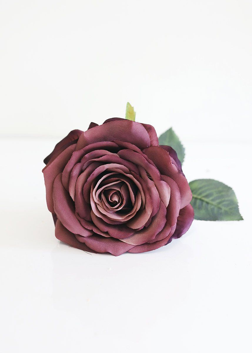 Dusty eggplant fake roses fall flower pick 12 tall in
