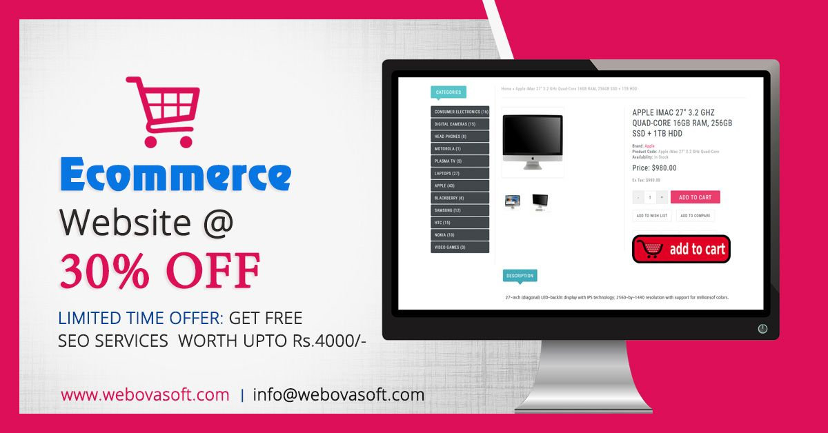 ECommerce website @30% OFF FREE SEO Services worth Rs 4000