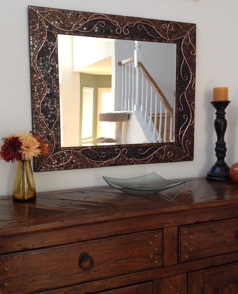 Large Decorative Mosaic Mirror  Stained Glass by RoxannesMirrors, $489.00