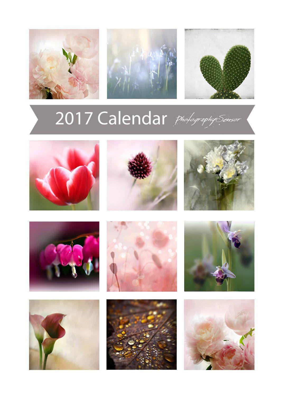 Calendrier 2017 Calendrier de bureau 2017 Photographie de fleurs