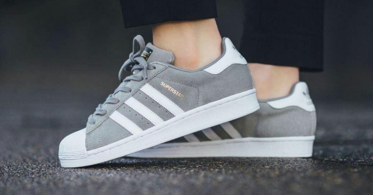 Adidas Superstar - gris - daim   Superstars shoes, Adidas ...