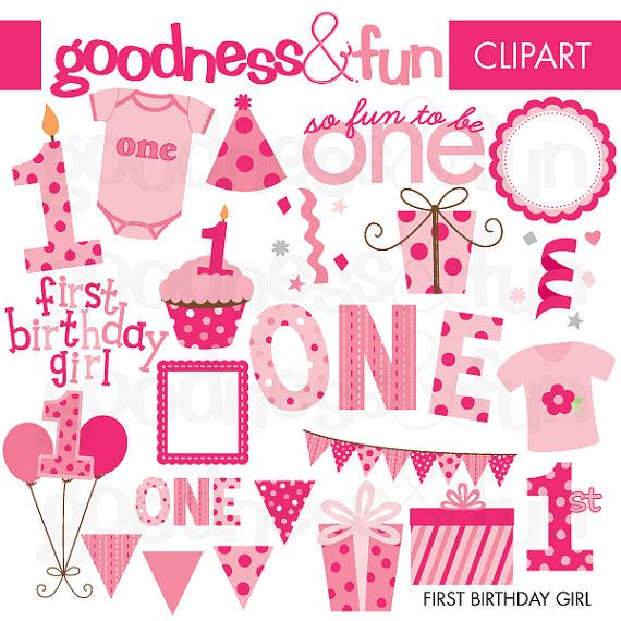 buy 2 get 1 free first birthday girl clipart digital first rh pinterest com first birthday clip art images first birthday clipart girl