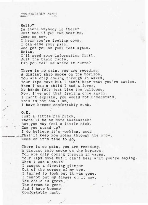 """Pink Floyd lyrics...has to be my favorite song off of """"The Wall""""  album...'Comfortably Numb':-) 