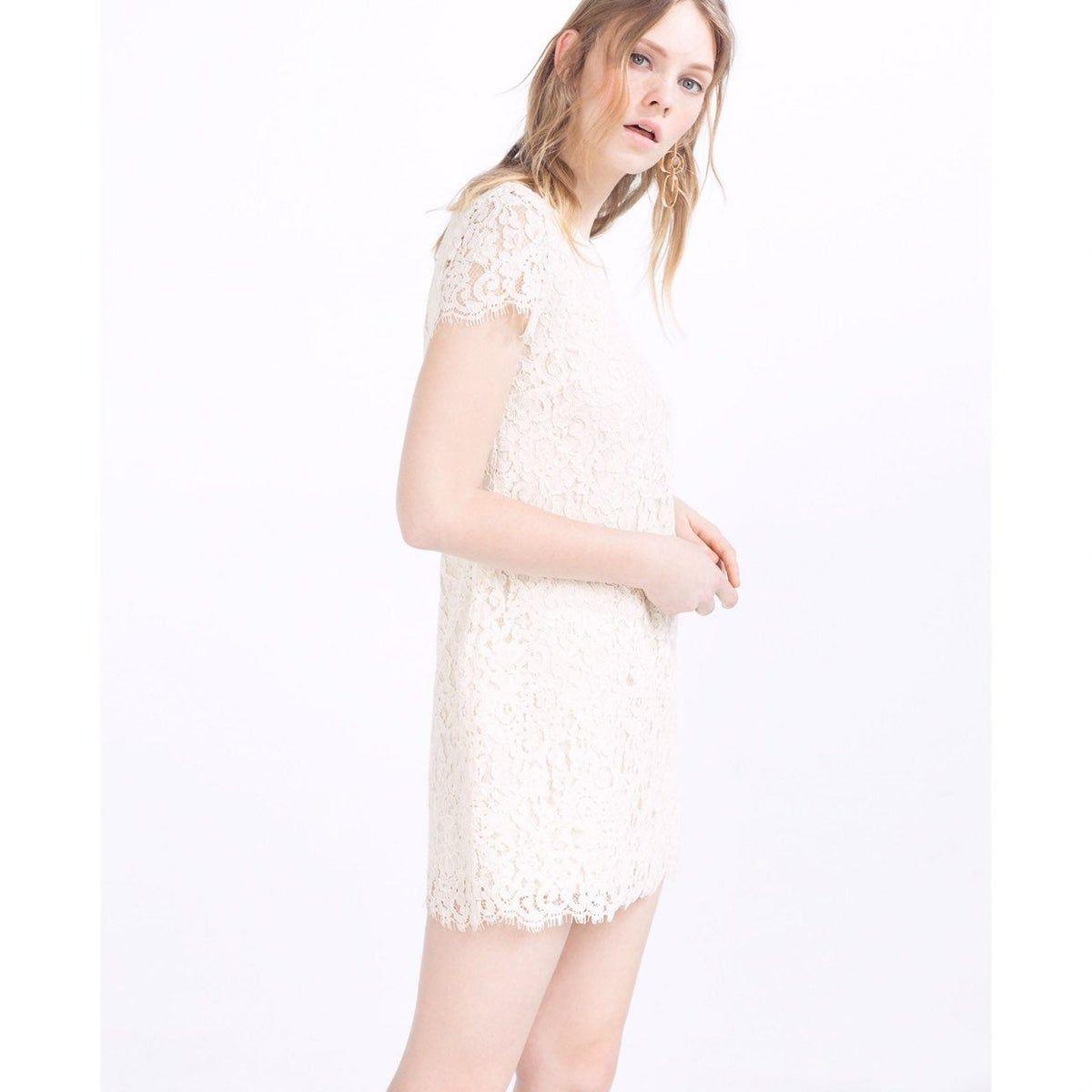 Zara Cream Lace Lined Summer Shift Dress Lace White Dress Lace Spring Dress Lace Wedding Guest Dress [ 1200 x 1200 Pixel ]