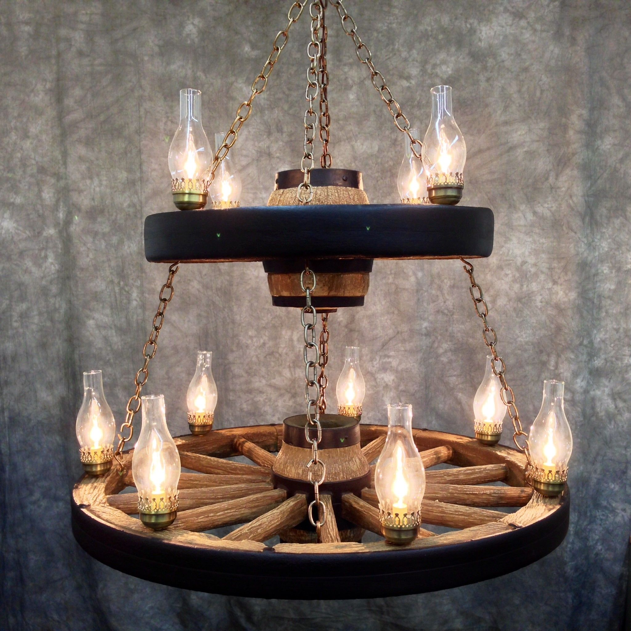 Double Wagon Wheel Chandelier with 11 Chimney Lights | Wagon