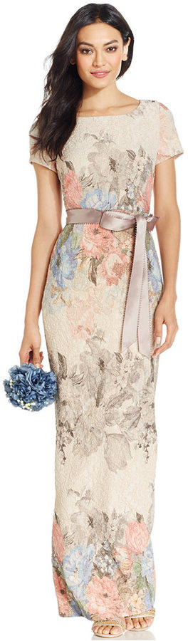 Adrianna Papell Floral Print Column Gown Column Gown Floral Evening Gown Pink Evening Dress