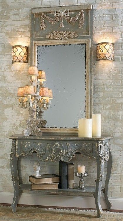 distressed gray console & mirror