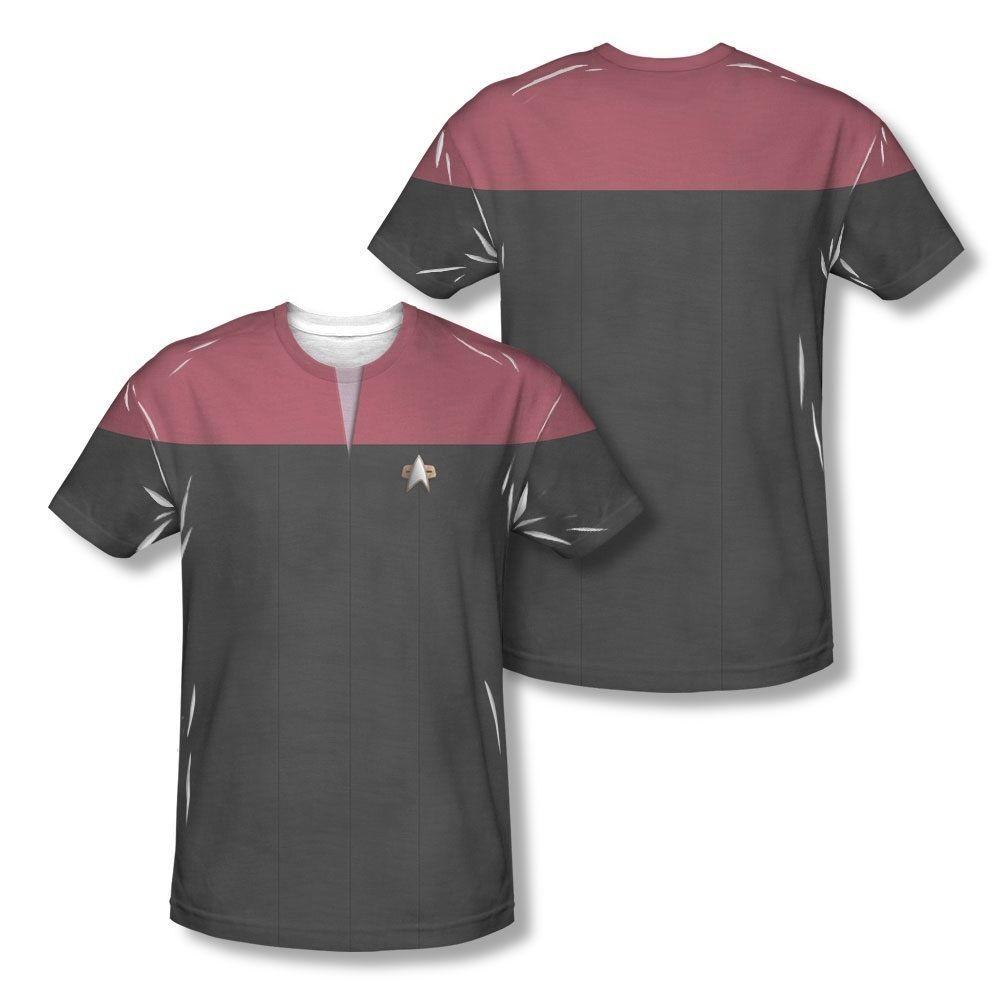 Star Trek Tng Engineering Uniform Costume Sublimation Licensed Adult T-Shirt