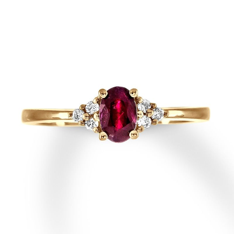 Natural Ruby Ring 1 15 Ct Tw Diamonds 10k Yellow Gold In 2020 Unique Diamond Rings Alternative Engagement Rings Leaf Engagement Ring