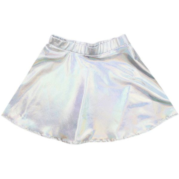 Silver Spectrum Holographic Skater Skirt (280 VEF) ❤ liked on Polyvore featuring skirts, black, women's clothing, silver skirt, black flared skirt, black circle skirt, skater skirt and circle skirt