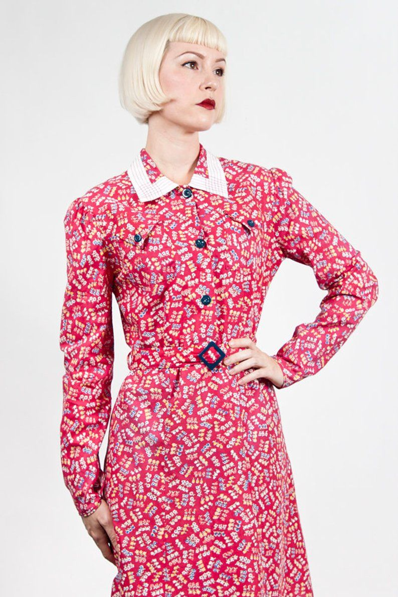 Vintage 1930s Long Sleeve Red Floral Cotton Day House Dress Etsy House Dress Dresses Red Floral [ 1190 x 794 Pixel ]