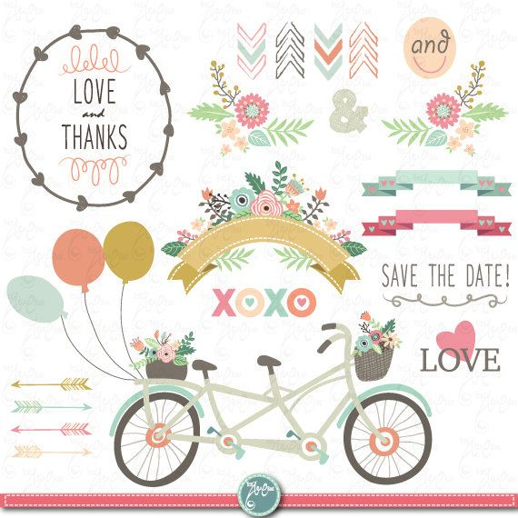 Wedding Clipart pack  - free invitation clipart