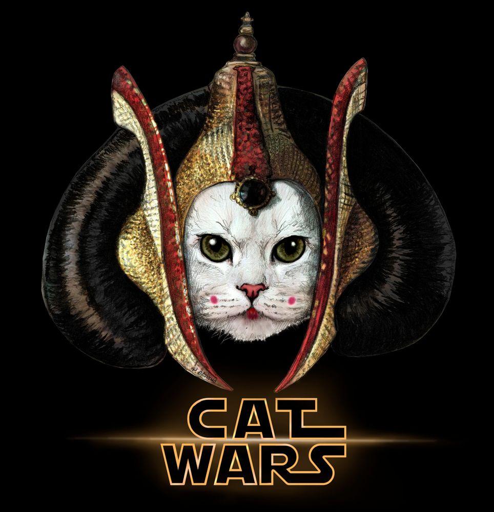 Cat Wars Amidala Tshirt by Detullio Pasquale Black