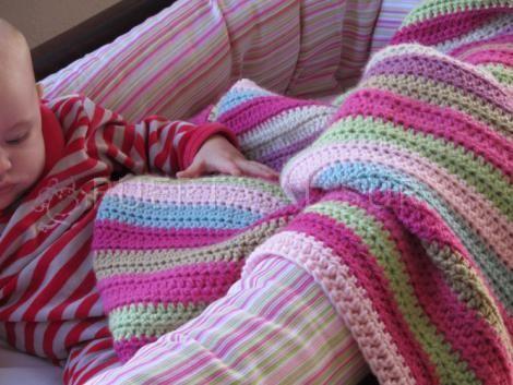 Manta para aprovechar restos de lana y muy facil mantas - Lana gorda para mantas ...