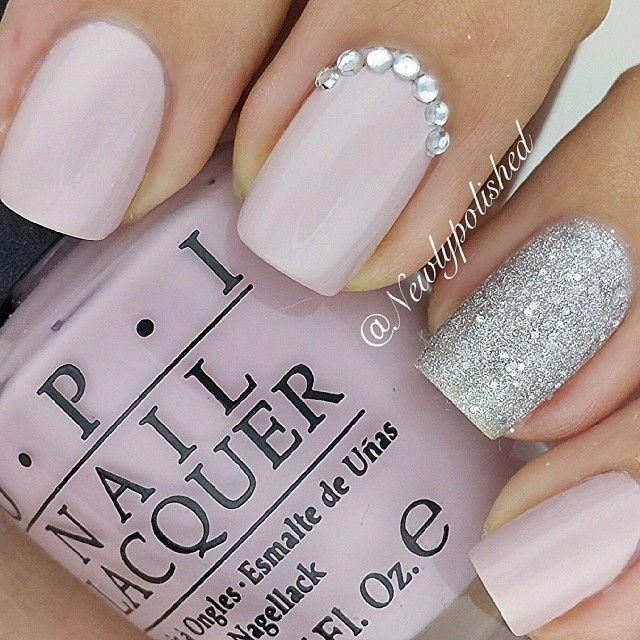 Pink Silver Sparkles Classy Nail Art Design Elegant Nails Arts