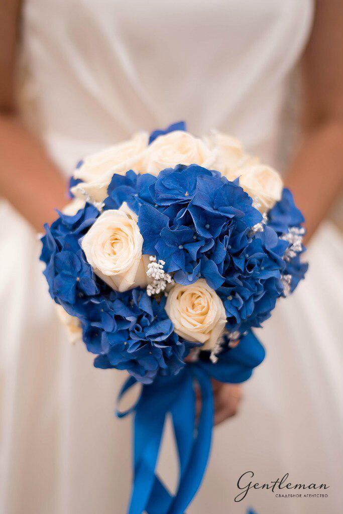 1d31f28225ebe62 Букет невесты синий голубой гортензия Розы ленты blue flowers bouquet bride  florist