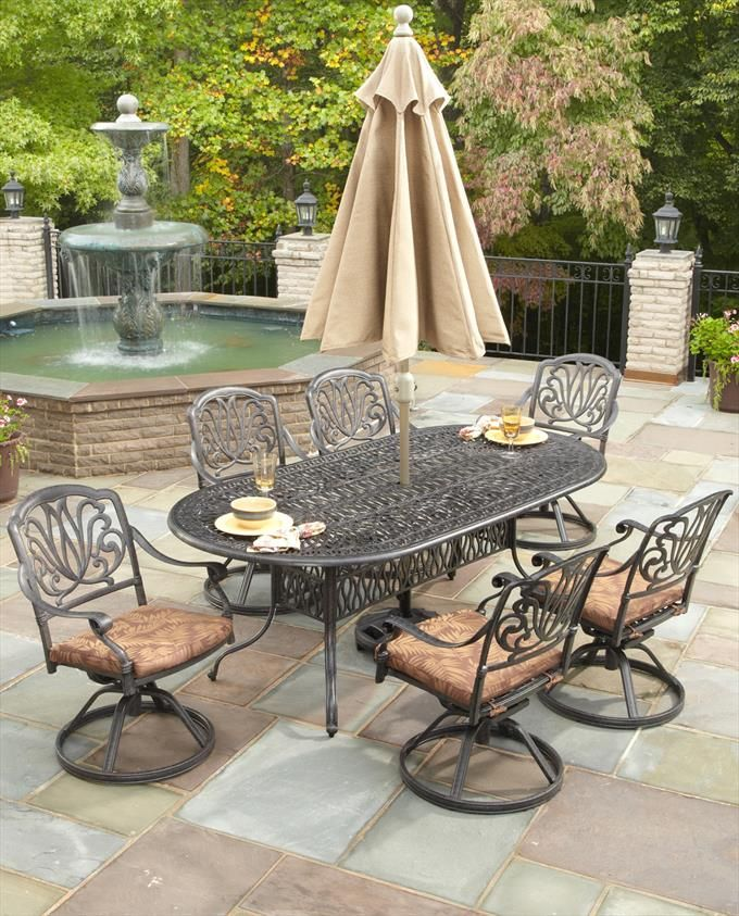 Floral Blossom 7 Piece Outdoor Dining Set with 6 Cushioned Swivel Chairs in Charcoal