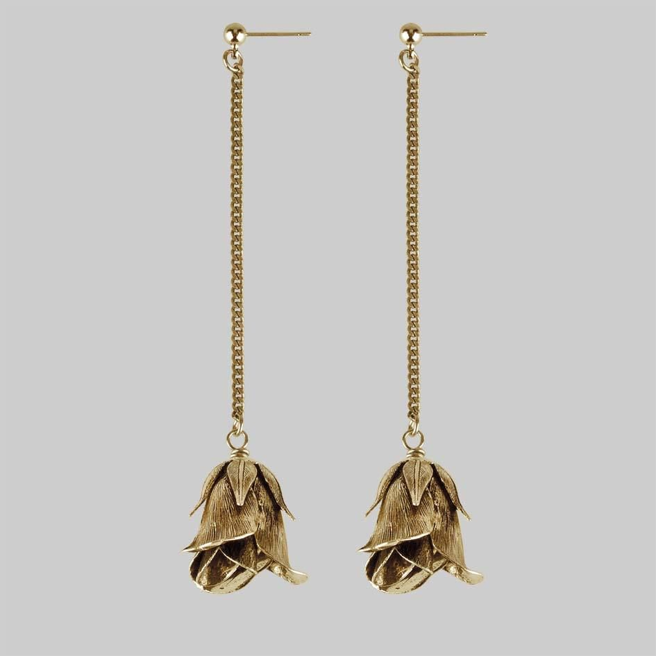 Rose Drop Chain Earrings Gold Regalrose