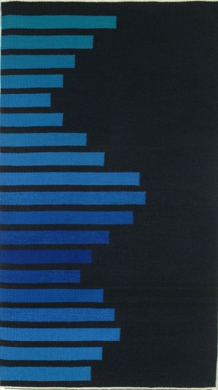 """Sine Wave, hand-dyed wool yarns, tapestry, 34"""" x 61.75"""" Private Collection"""