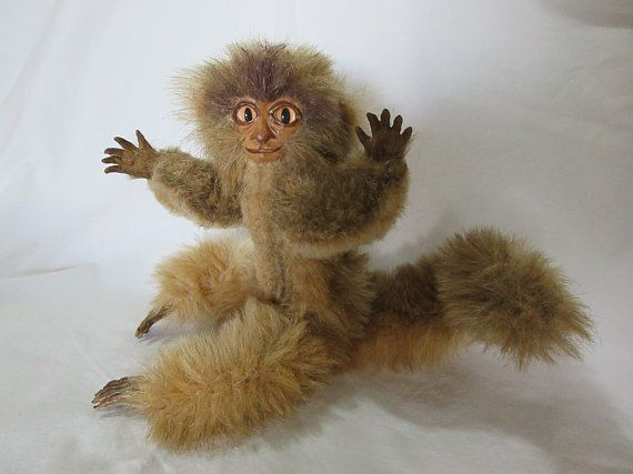 Monkey. from Elliesotherworld on Etsy. Collectable. Poseable. One of a kind. Handmade. Art Doll.