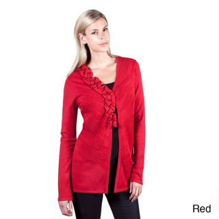 @Overstock - Casual, flirty, and a little festive, this cardigan from Colour Works is warm and trendy. This cardigan features a pretty side ruffle detail and an eye-catching ottoman stitch on along the front.http://www.overstock.com/Clothing-Shoes/Colour-Works-Womens-Red-Ottoman-Stitch-Ruffle-Detail-Cardigan/7542733/product.html?CID=214117 $39.99