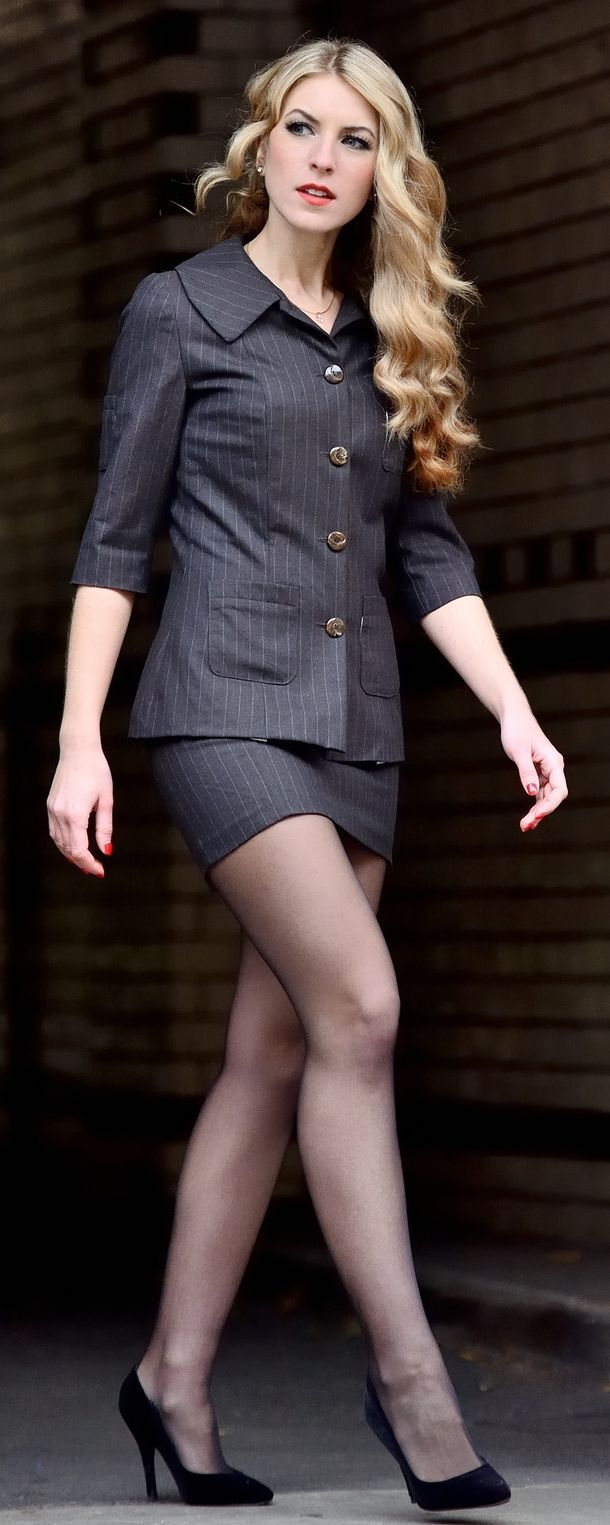 Suit and pantyhose is the