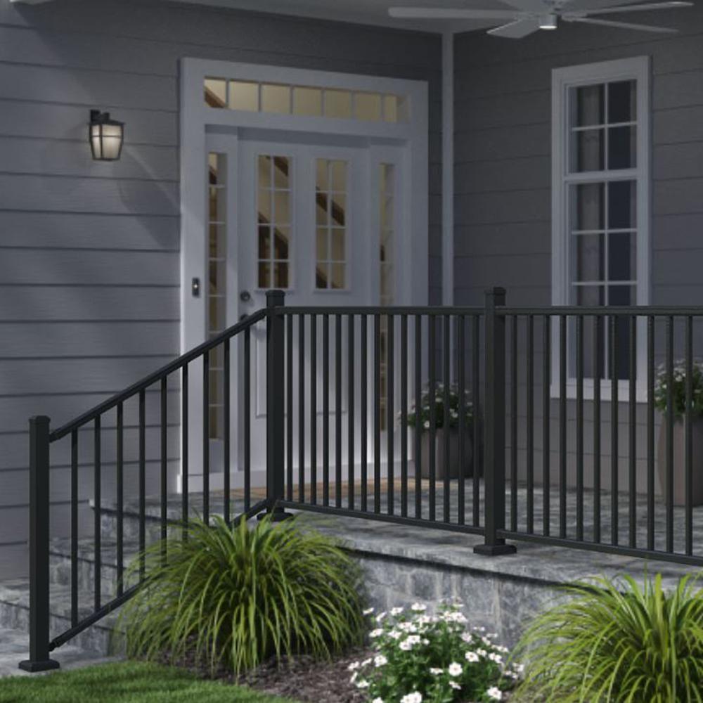 Weatherables Classic Square 36 In H X 70 1 2 In W Textured Black | Black Aluminum Stair Railing | Interior | Classic | Simple | Square Metal | Pressure Treated Deck Black