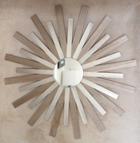 Paint sticks sunburst mirror