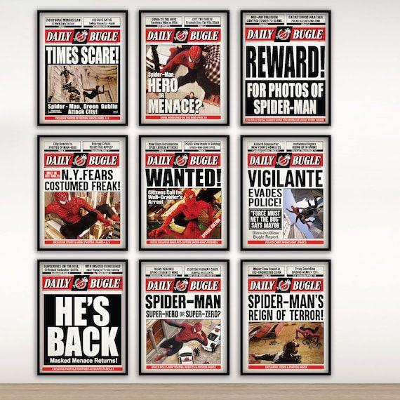 Read the full title Spider Man Movie   Sam Raimi Spiderman Newspaper Poster Print   Spider-man print  