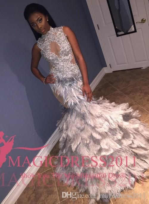 2017 Chic Silver Prom Evening Dresses with Tiered Fur Mermaid High Neck  Illusion Bodice Tiered Skirts Sweep Train Formal Evening Gowns Party Prom  Dresses ... dfa99ed96cb3